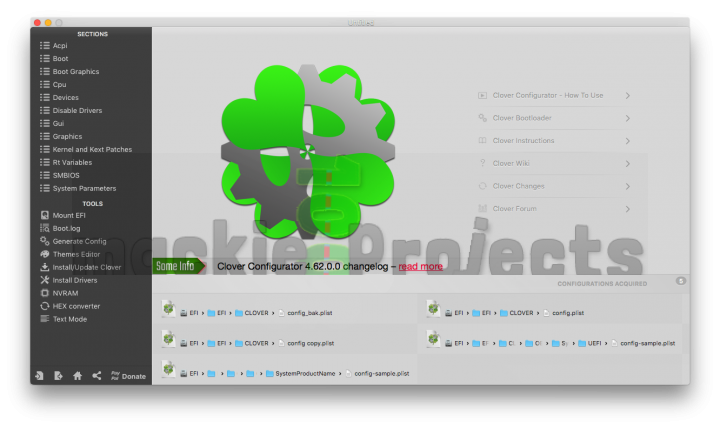 Clover Configurator Home screen