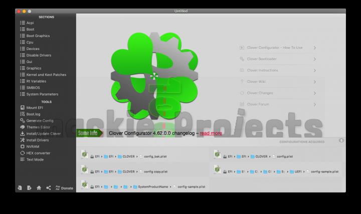 Clover Configurator Home screen